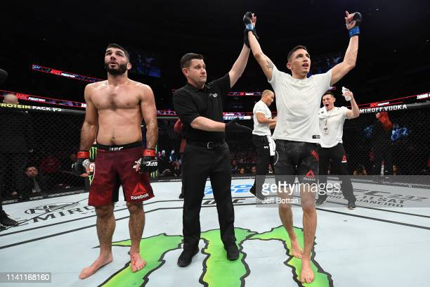 Vince Morales celebrates his victory over Aiemann Zahabi of Canada in their bantamweight bout during the UFC Fight Night event at Canadian Tire...