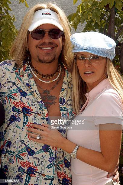 Vince Neil and Jenna Jameson during The 7th Annual Skylar Neil Memorial Golf Tournament at Malibu Canyon Country Club in Malibu California United...