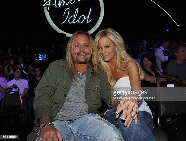 ACCESS*** Vince Neil and Lia Gherardini are seen in the audience at the American Idol Season 8 Top 7 Performance Show on April 21 2009 in Los Angeles...