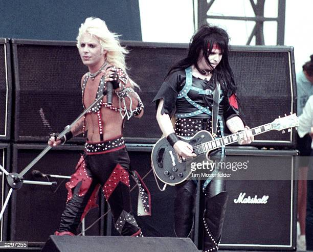 Vince Neil and Mick Mars of Motley Crue performing at the US Festival in San Bernadino Calif 1983 Image By Tim Mosenfelder/ImageDirect