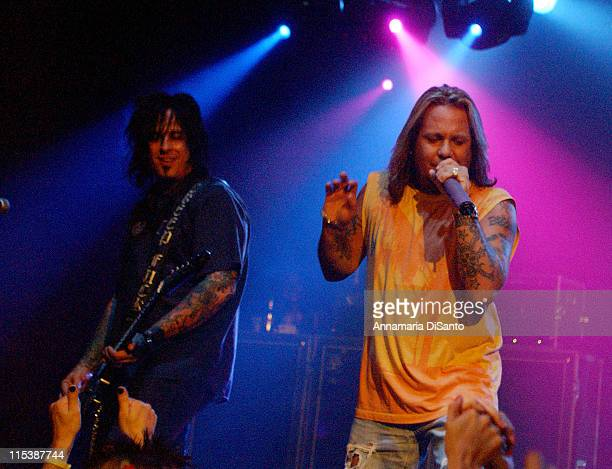 Vince Neil and Nikki Sixx during Vince Neil of MOetley Cr#971e Performs Special Concert With Special Guests at Key Club in West Hollywood California...