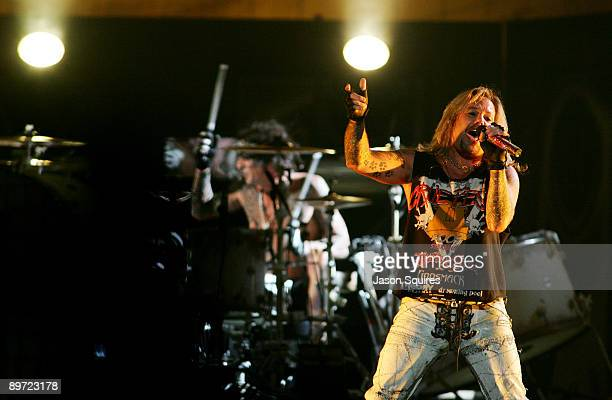 Vince Neil and Tommy Lee of Motley Crue perform during Crue Fest 2 at the Sprint Center on August 9 2009 in Kansas City Missouri