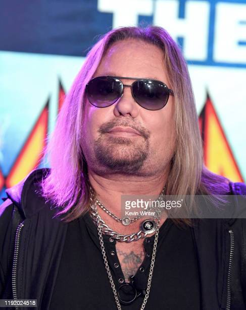 Vince Neil appears onstage at a press conference with Mötley Crüe Def Leppard and Poison announcing their 2020 Stadium Tour on December 04 2019 in...