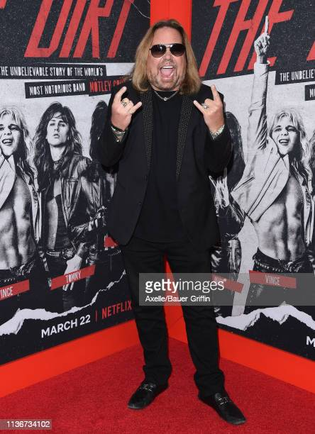 Vince Neil arrives at the premiere of Netflix's 'The Dirt' at ArcLight Hollywood on March 18 2019 in Hollywood California