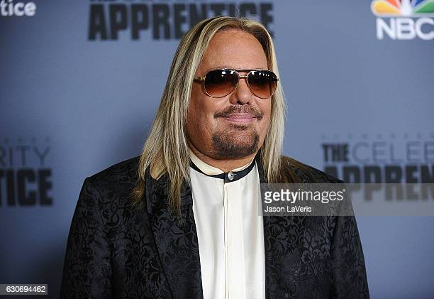 Vince Neil attends the press junket For NBC's Celebrity Apprentice at The Fairmont Miramar Hotel Bungalows on January 28 2016 in Santa Monica...