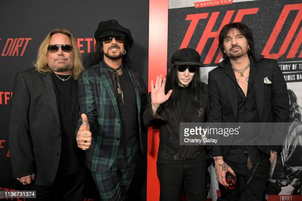 Vince Neil Nikki Sixx Mick Mars and Tommy Lee attend the premiere of Netflix's 'The Dirt at the Arclight Hollywood on March 18 2019 in Hollywood...