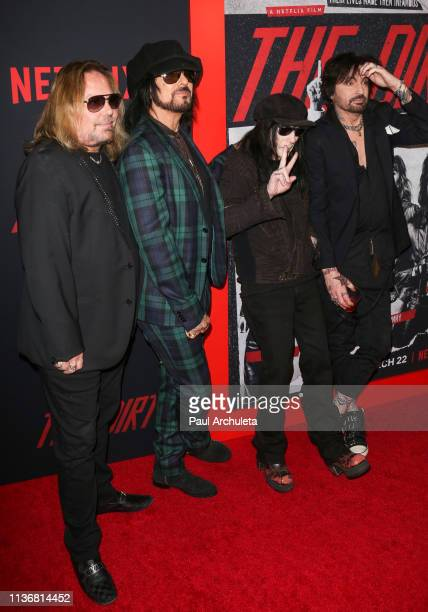 Vince Neil Nikki Sixx Mick Mars and Tommy Lee of Rock Band Motley Crue attend the Premiere Of Netflix's 'The Dirt' at ArcLight Hollywood on March 18...