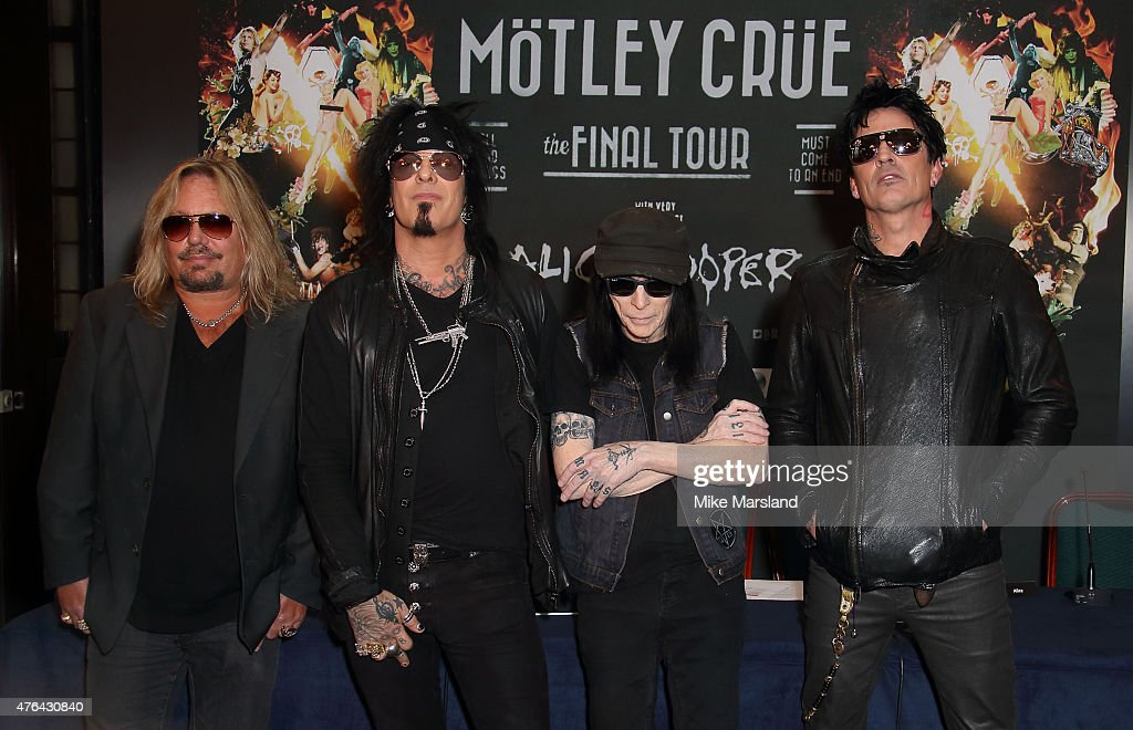 Vince Neil, Nikki Sixx, Tommy Lee and Mick Mars attend the last ever European press conference for Motley Crue at Law Society on June 9, 2015 in London, England.