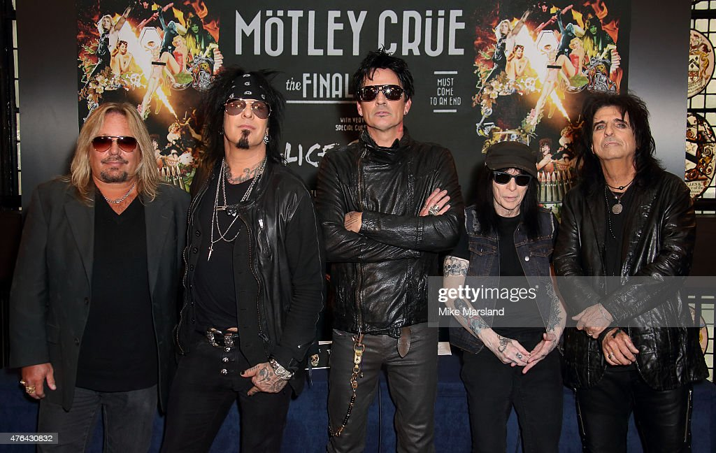 Vince Neil, Nikki Sixx, Tommy Lee, Mick Mars and Alice Cooper attend the last ever European press conference for Motley Crue at Law Society on June 9, 2015 in London, England.