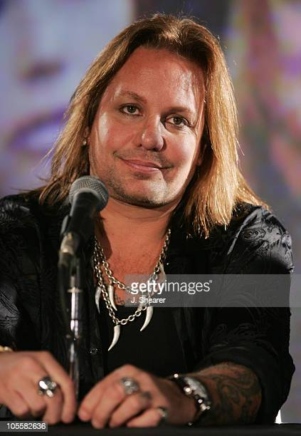 Vince Neil of Motley Crue during Motley Crue Better Live Than Dead Tour Announcement Press Conference at The Palladium in Hollywood California United...