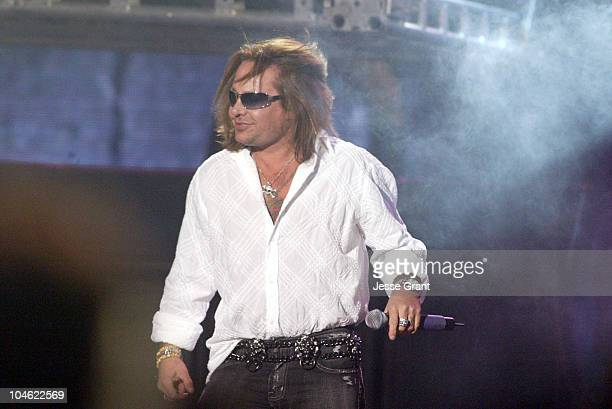 Vince Neil of Motley Crue during Spike TV Video Game Awards 2004 Show at Barker Hangar in Santa Monica California United States