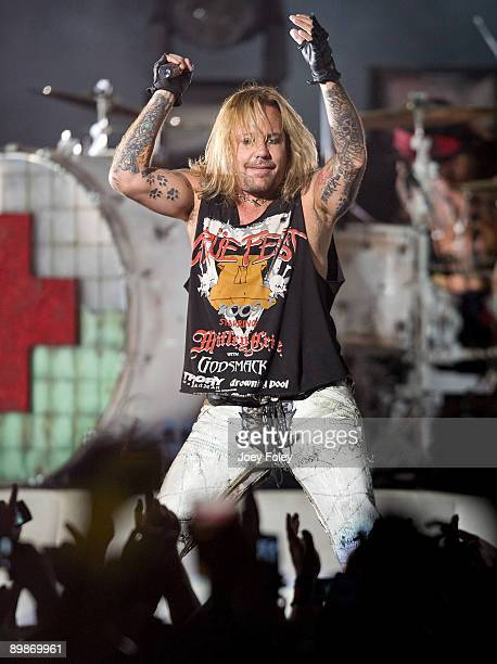 Vince Neil of Motley Crue performs in concert during Crue Fest 2 at the Verizon Wireless Music Center on August 12 2009 in Noblesville Indiana