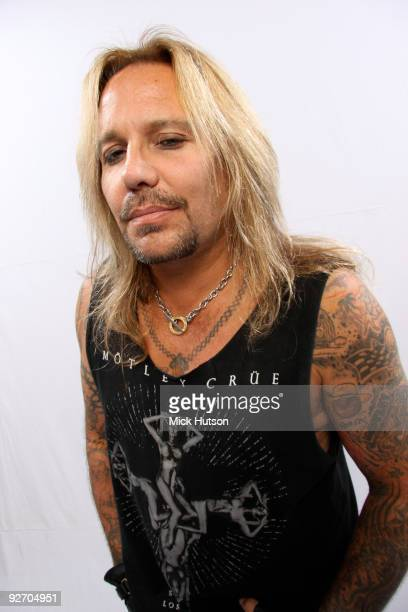 Vince Neil of Motley Crue poses for a studio portrait session backstage at the Download Festival Donington Park Leicestershire on June 12th 2009