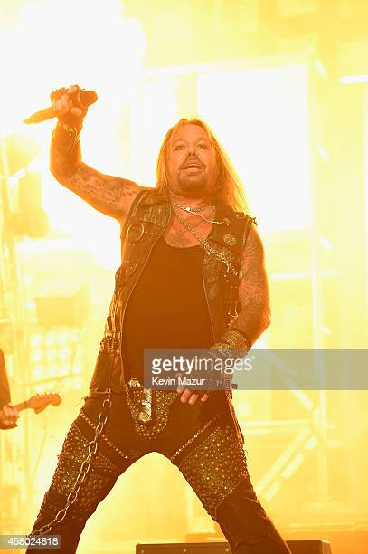 Vince Neil performs at Motley Crue The Final Tour with special guest Alice Cooper at Madison Square Garden on October 28 2014 in New York City