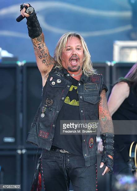 Vince Neil performs during the 38th Annual Toyota Pro/Celebrity Race concert at the Grand Prix of Long Beach on April 18 2015 in Long Beach California