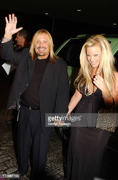Vince Neil With Leah during Joe and Gavin Maloof's Celebrity Roast Arrivals at Palms Hotel in Las Vegas Nevada