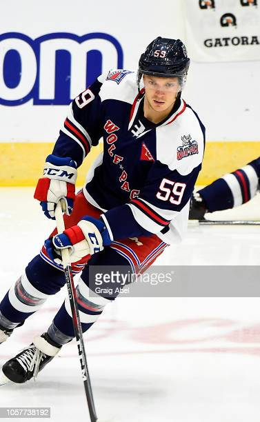 Vince Pedrie of the Hartford Wolf Pack skates in warmup prior to a game against the Toronto Marlies during AHL game action on October 20, 2018 at...