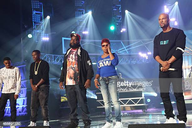 Vince Staples Jay Electronica Michael Brown Sr Lesley McSpadden and Common appear onstage during the BET Hip Hop Awards 2014 at Boisfeuillet Jones...
