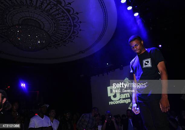Vince Staples performs during the Def Jam Upfronts 2015 Showcase Powered By Samsung Milk Music Milk Video at Arena on May 12 2015 in New York City