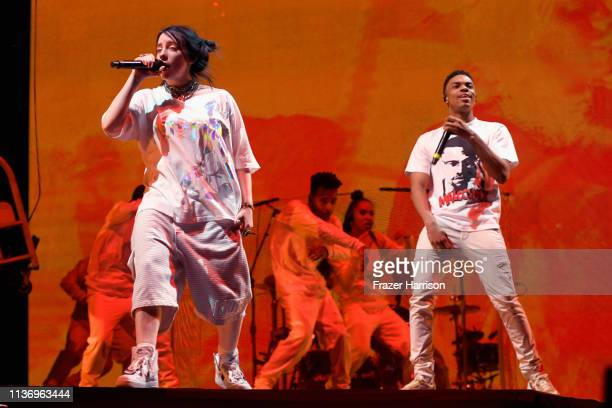 Vince Staples performs with Billie Eilish at Outdoor Theatre during the 2019 Coachella Valley Music And Arts Festival on April 13 2019 in Indio...