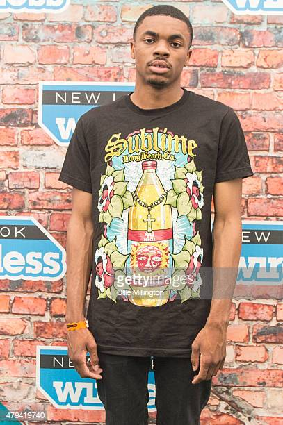 Vince Staples posses backstage for a portrait during Day 1 of New Look Wireless at Finsbury Park on July 3 2015 in London England