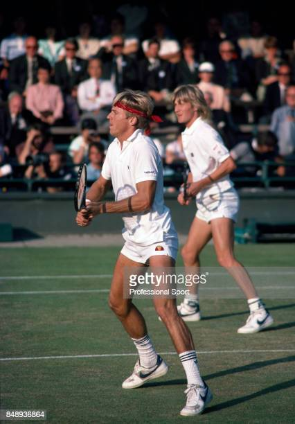 Vince Van Patten and Mel Purcell both of the USA in action during a men's doubles match at the Wimbledon Lawn Tennis Championships in London circa...
