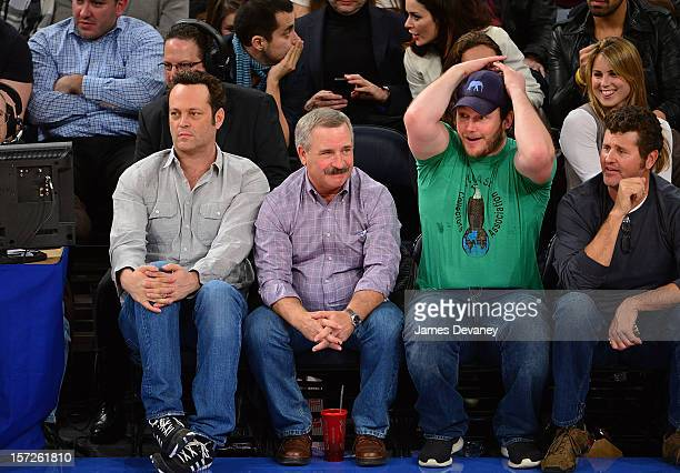 Vince Vaughn and Chris Pratt attend the Washington Wizards vs New York Knicks game at Madison Square Garden on November 30 2012 in New York City