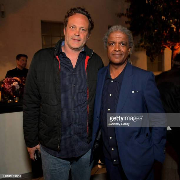 Vince Vaughn and Elvis Mitchell attend Netflix world premiere of THE BLACK GODFATHER at the Paramount Theater on June 03 2019 in Los Angeles...