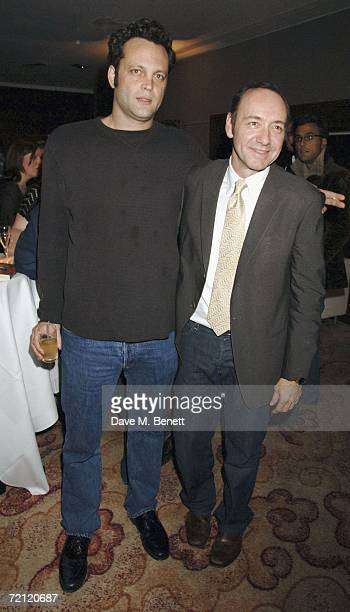 Vince Vaughn and Kevin Spacey attend the '24 Hour Plays' gala party at the Riverbank Plaza Hotel after the performance at the Old Vic Theatre on...