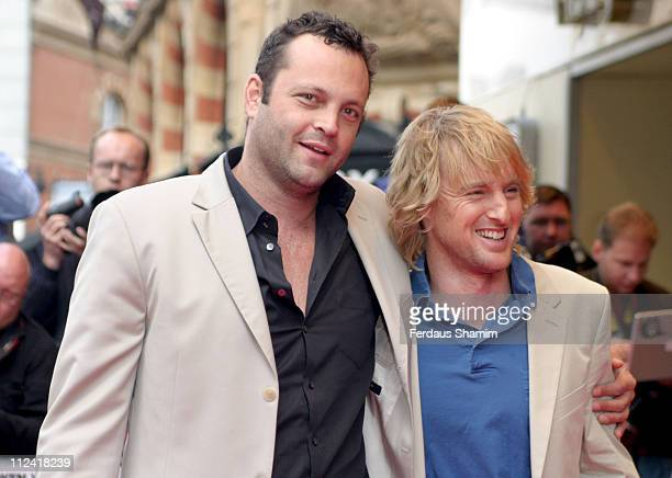 """Vince Vaughn and Owen Wilson during """"Wedding Crashers"""" London Premiere at Odeon West End in London, Great Britain."""
