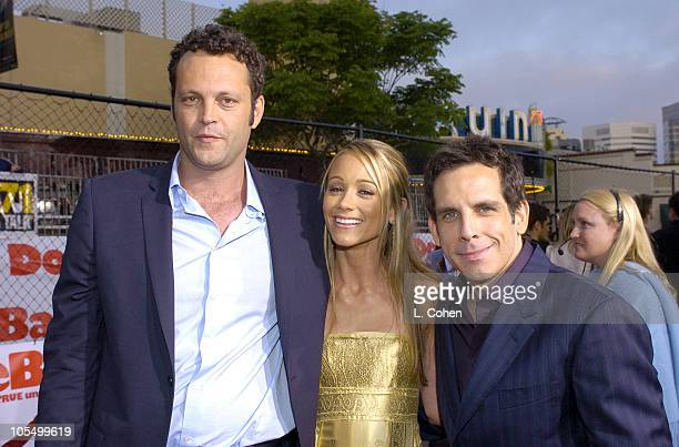 "Vince Vaughn, Ben Stiller and Christine Taylor during ""Dodgeball: A True Underdog Story"" World Premiere - Red Carpet at Mann Village Theater in..."