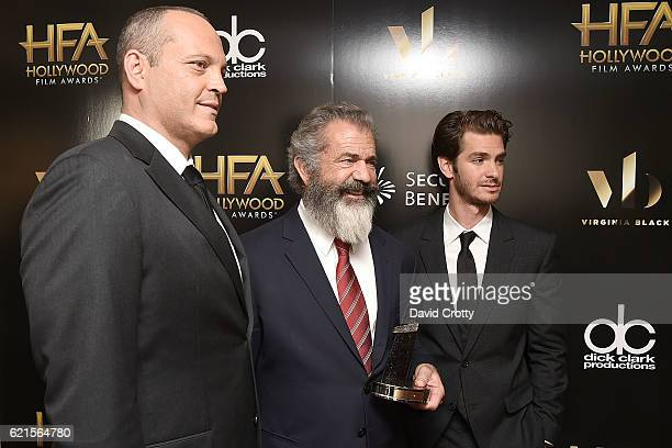 Vince Vaughn Mel Gibson and Andrew Garfield attend the 20th Annual Hollywood Film Awards Press Room at The Beverly Hilton Hotel on November 6 2016 in...