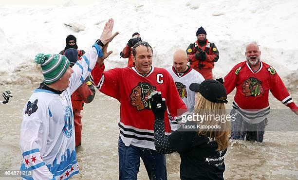 Vince Vaughn participates in the Chicago Polar Plunge 2015 at North Avenue Beach on March 1 2015 in Chicago Illinois