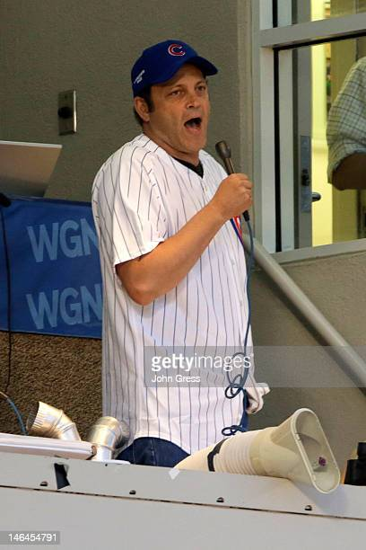 Vince Vaughn sings Take Me Out to the Ballgame during the 7th Inning Stretch at Chicago Cubs vs Boston Red Sox during TBS Just For Laughs Chicago...