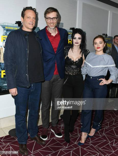 Vince Vaughn Stephen Merchant Paige Bevis and Florence Pugh attend Fighting With My Family Los Angeles Tastemaker Screening at The London Hotel on...
