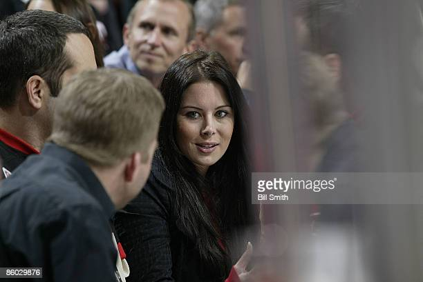 Vince Vaughn's fiance Kyla Weber watches her hometown team the Calgary Flames take on the Chicago Blackhawks during game 2 of the Western Conference...