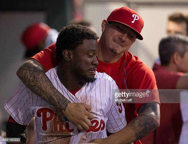 Vince Velasquez of the Philadelphia Phillies celebrates with Odubel Herrera in the bottom of the sixth inning against the Atlanta Braves at Citizens...