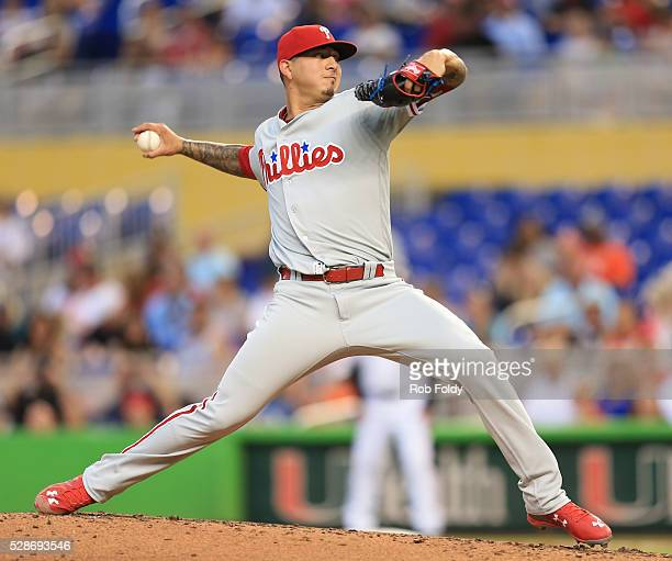 Vince Velasquez of the Philadelphia Phillies delivers a pitch during the game against the Miami Marlins at Marlins Park on May 6 2016 in Miami Florida