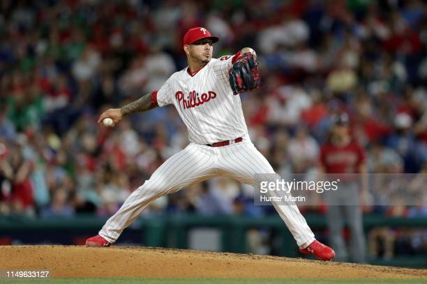 Vince Velasquez of the Philadelphia Phillies delivers a pitch in the ninth inning during a game against the Arizona Diamondbacks at Citizens Bank...