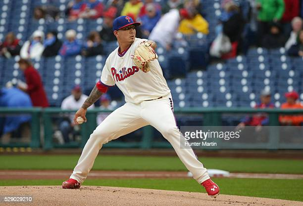 Vince Velasquez of the Philadelphia Phillies during a game against the Cleveland Indians at Citizens Bank Park on May 1 2016 in Philadelphia...