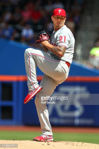 Vince Velasquez of the Philadelphia Phillies in action against the New York Mets during a game at Citi Field on September 8, 2019 in New York City.