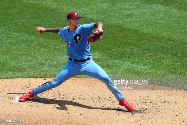 Vince Velasquez of the Philadelphia Phillies in action against the Atlanta Braves in game one of a double header at Citizens Bank Park on August 9,...