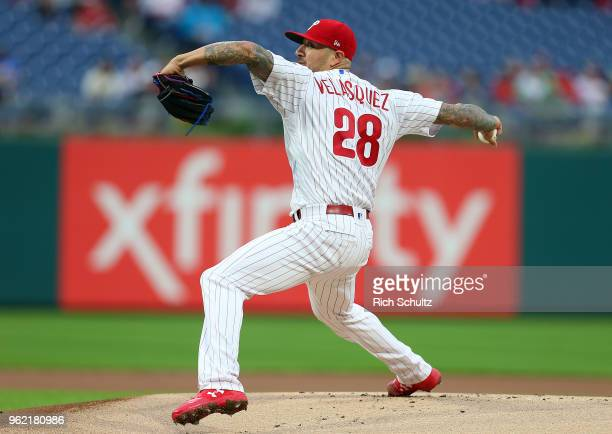 Vince Velasquez of the Philadelphia Phillies in action against the Atlanta Braves during a game at Citizens Bank Park on May 22 2018 in Philadelphia...