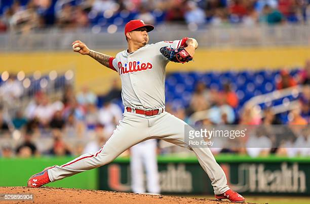 Vince Velasquez of the Philadelphia Phillies in action during the game against the Miami Marlins at Marlins Park on May 6 2016 in Miami Florida