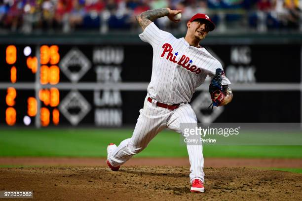 Vince Velasquez of the Philadelphia Phillies pitches against the Milwaukee Brewers during the third inning at Citizens Bank Park on June 8 2018 in...
