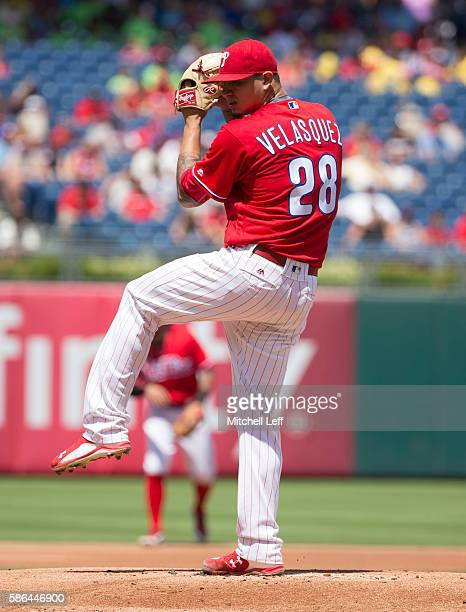 Vince Velasquez of the Philadelphia Phillies pitches against the San Francisco Giants at Citizens Bank Park on August 4 2016 in Philadelphia...