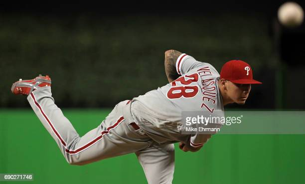 Vince Velasquez of the Philadelphia Phillies pitches during a game against the Miami Marlins at Marlins Park on May 30 2017 in Miami Florida