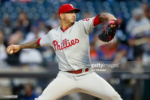Vince Velasquez of the Philadelphia Phillies pitches during the first inning against the New York Mets at Citi Field on April 24 2019 in New York City