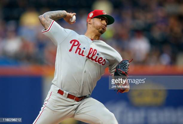 Vince Velasquez of the Philadelphia Phillies pitches during the first inning against the New York Mets at Citi Field on July 05, 2019 in New York...