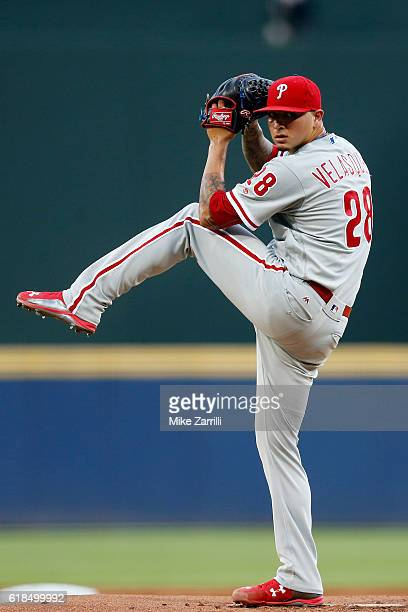 Vince Velasquez of the Philadelphia Phillies pitches during the game against the Atlanta Braves at Turner Field on July 29 2016 in Atlanta Georgia